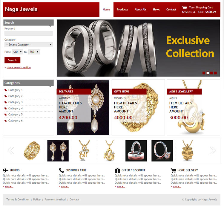 eCommerce for fashion Jewellery